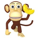3d funny monkey with banana. 3D render isolated on white Royalty Free Stock Photo