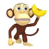 3d funny monkey with banana. 3D render isolated on white Stock Photo