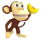 3d funny monkey with banana. 3D render isolated on white Royalty Free Stock Images