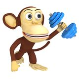 3d funny monkey with blue dumbbell Stock Images
