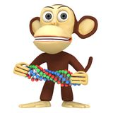 3d funny monkey with dna chain Stock Photos