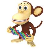 3d funny monkey with dna chain Stock Photography