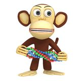 3d funny monkey with dna chain Royalty Free Stock Photo