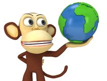 3d funny monkey with earth globe Royalty Free Stock Photo