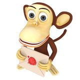 3d funny monkey hold envelope with red wax seal Royalty Free Stock Photography