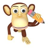 3d funny monkey with pencil Stock Photo