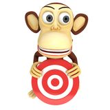 3d funny monkey with red aim target Stock Photos