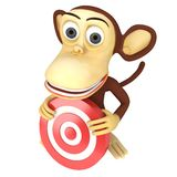 3d funny monkey with red aim target Stock Image