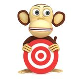 3d funny monkey with red aim target Royalty Free Stock Photo