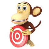 3d funny monkey with red aim target Royalty Free Stock Images