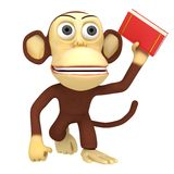 3d funny monkey with red book Royalty Free Stock Photo