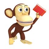 3d funny monkey with red book Stock Photo