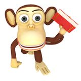 3d funny monkey with red book Royalty Free Stock Photos