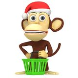 3d funny monkey santa claus Stock Photos