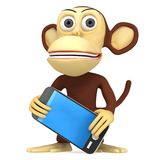 3d funny monkey with smart phone Stock Image