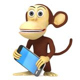 3d funny monkey with smart phone Royalty Free Stock Photography