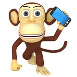 3d funny monkey with smartphone Stock Photo