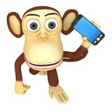 3d funny monkey with smartphone Stock Photography