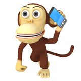 3d funny monkey with smartphone Royalty Free Stock Photo