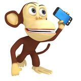 3d funny monkey with smartphone Stock Image