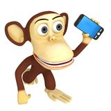 3d funny monkey with smartphone Stock Images