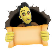 3D Funny monster coming out a wall hole with a blank papyrus.  Royalty Free Stock Images