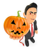 3D Funny monster. Devil with a big pumpkin. Halloween Royalty Free Stock Image