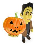 3D Funny monster. Frankenstein with a big pumpkin. Halloween Stock Photography