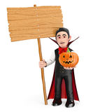 3D Funny monster. Vampire with a blank wooden sign and a pumpkin Stock Images