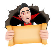 3D Funny monster. Vampire coming out a wall hole Royalty Free Stock Photo