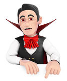 3D Funny monster. Vampire pointing down. Blank space.  Stock Photography