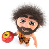 3d Funny stoneage caveman character holding an apple. 3d render of a funny stoneage caveman character holding an apple Stock Images