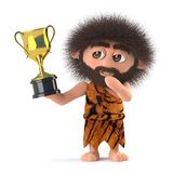 3d Funny stoneage caveman has won the gold cup trophy award. 3d render of a funny cartoon primitive stoneage caveman character  holding a gold cup trophy award Royalty Free Stock Image