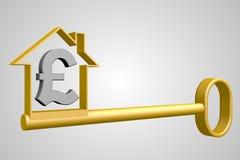 3D funta znak i house/klucza kształt Zdjęcie Royalty Free