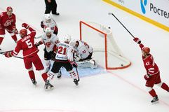D. Furch 33 miss a goal. PODOLSK, RUSSIA - SEPTEMBER 3, 2017: D. Furch 33 miss a goal on hockey game Vityaz vs Avangard on 10th Russia KHL championship on Stock Images