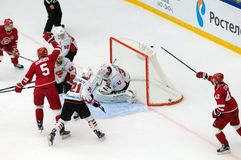 D. Furch 33 miss a goal. PODOLSK, RUSSIA - SEPTEMBER 3, 2017: D. Furch 33 miss a goal on hockey game Vityaz vs Avangard on 10th Russia KHL championship on Stock Photos