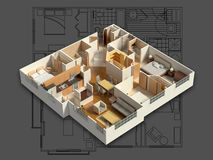 3D Furnished House Interior on a Blueprint. 3D isometric rendering of a furnished residential house, on a blueprint, showing the living room, dining room, foyer Stock Images