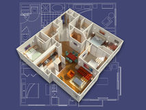 3D Furnished House Interior on a Blueprint Stock Photography