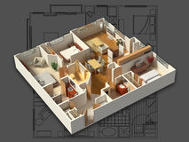 3D Furnished House Interior on a Blueprint Stock Image
