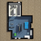 3D Furnished House Interior Stock Photo