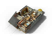 3D Furnished House Interior Stock Images