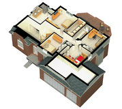 3D furnished house rendering Stock Image
