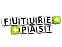 3D Future Past Button Click Here Block Text. Over white background Royalty Free Stock Images