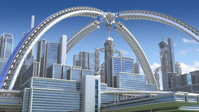 3D futuristic city vector illustration