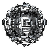 3d futuristic city ball in silver chrome on white Royalty Free Stock Photography