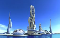 Futuristic city architecture for fantasy and science fiction ill. 3D futuristic city with organic high-rise architecture against a marina skyline, for fantasy vector illustration