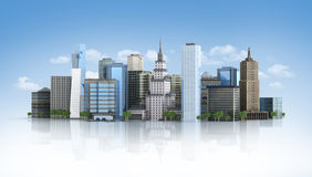 3d futuristic city. 3d rendered illustration of a futuristic city Royalty Free Stock Photo