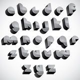3d futuristic font, geometric dimensional letters set. Royalty Free Stock Images