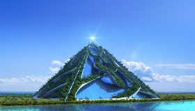3D Futuristic green architecture. With a glass pyramid enclosed in vine-like structures covered with trees and a vertical garden, against a marina skyline, for stock illustration