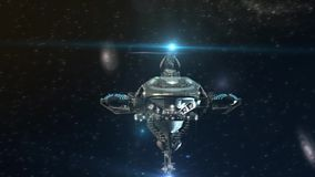 3D Futuristic military spacecraft in deep space. 3D Futuristic sequence of a detailed spacelab, alien spaceship or military spacecraft for fantasy games or